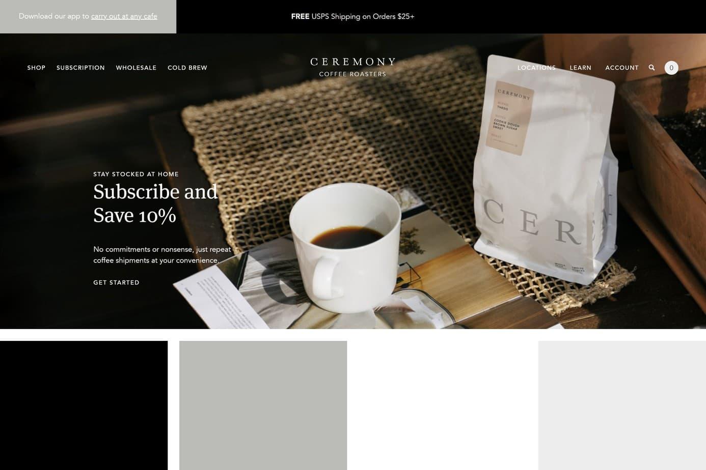 ceremony coffee website design